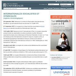 INTERNATIONALES SOCIALISTES ET SYNDICALES - repères chronologiques