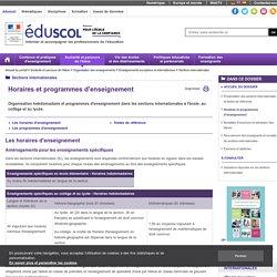 Horaires et programmes d'enseignement