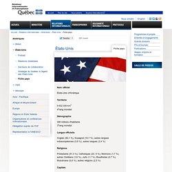 Fiche pays États-Unis - MRIF - Ministère des Relations internationales et de la Francophonie