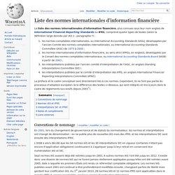 Liste des normes internationales d'information financière