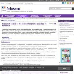Présentation des sections internationales et textes de référence_Eduscol