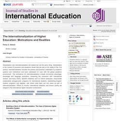 The Internationalization of Higher Education: Motivations and Realities