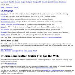 Internationalization Quick Tips for the Web