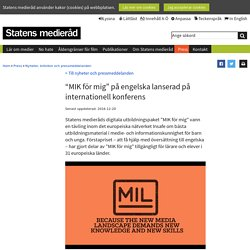 """""""MIK för mig"""" på engelska lanserad på internationell konferens"""