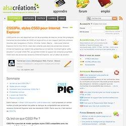 CSS3Pie, styles CSS3 pour Internet Explorer