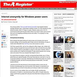 Internet anonymity for Windows power users