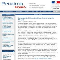 Les usages de l'Internet mobile en France (enquête Credoc)