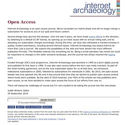 Internet Archaeology. Open Access