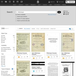 Internet Archive Search: rhétorique