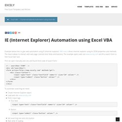 IE (Internet Explorer) Automation using Excel VBA - Excel VBA Templates