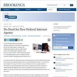 No Need for New Federal Internet Agency - Up Front Blog