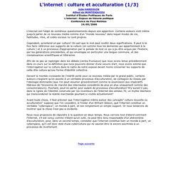 INTERNET ET CULTURE (1/3)