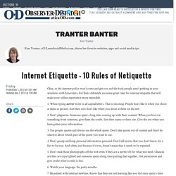 Internet Etiquette - 10 Rules of Netiquette - Blogs - Uticaod - Utica, NY