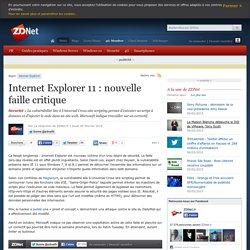 Internet Explorer 11 : nouvelle faille critique