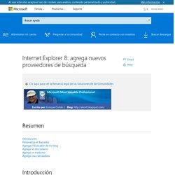 Internet Explorer 8: agrega nuevos proveedores de búsqueda