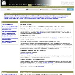 Internet Archive Frequently Asked Questions