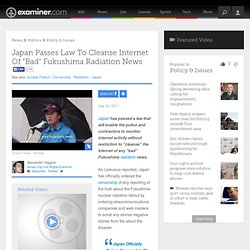 "Japan Passes Law To Cleanse Internet Of ""Bad"" Fukushima Radiation News - Jersey City Civil Rights"