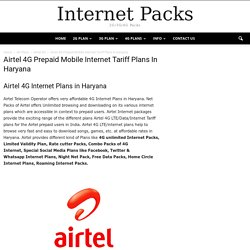 Airtel 4G Internet Plans in Haryana,Prepaid Mobile Net Packs Tariff