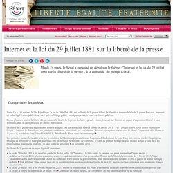 Internet et la loi du 29 juillet 1881 sur la liberté de la presse- Sénat