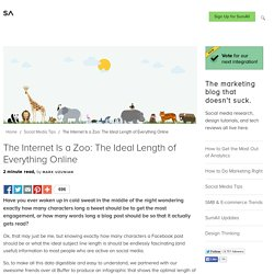 The Internet Is a Zoo: The Ideal Length of Everything Online