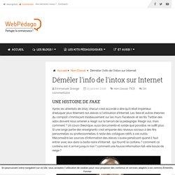Démêler l'info de l'intox sur Internet - LeWebPédagogique