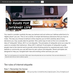 10 Rules for Internet Life - Digital Student - LibGuides at University of Hull