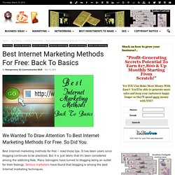 Best Internet Marketing Methods For Free: Back To Basics