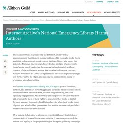 Internet Archive's National Emergency Library Harms Authors