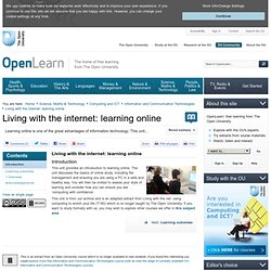 1.1.3 Health issues of studying online - Living with the internet: Learning online