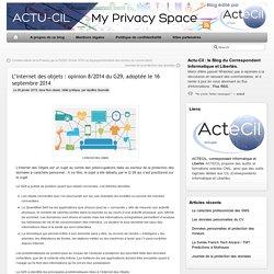 L'internet des objets : opinion 8/2014 du G29, adoptée le 16 septembre 2014