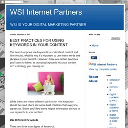 Best Practices For Using Keywords In Your Content - WSI Internet Partners Waco, TX