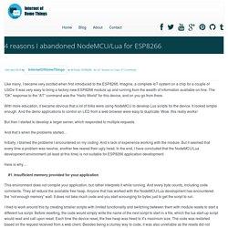 Internet of Home Things » 4 reasons I abandoned NodeMCU/Lua for ESP8266
