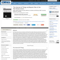 The Internet of Things and Beyond: Rise of the Non-Human Actors: Social Sciences & Online Behavior Journal Article