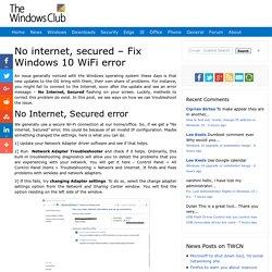 No internet, secured - Fix Windows 10 WiFi error