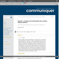 Internet: un facteur de transformation de la relation médecin-patient?