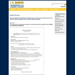 Internship and Career Center, UC Davis / Health and Biological Sciences / Sample Resumes