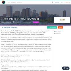 Media Intern (Media/Film/Video)
