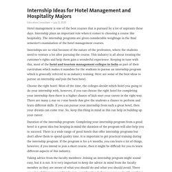 Internship Ideas for Hotel Management and Hospitality Majors
