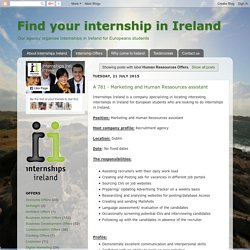 Find your internship in Ireland: Human Ressources Offers