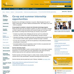 Sun Life Financial - Co-op and summer internship opportunities