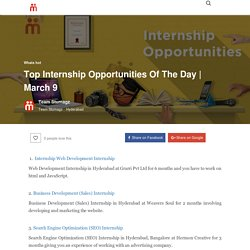 Top Internship Opportunities Of The Day
