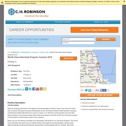 World Class Internship Program- Summer 2015 in US-IL-Chicago at C.H. ROBINSON