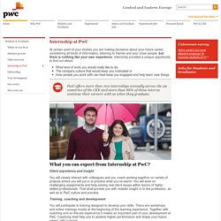 Internship at PwC - Regional PwC Career website