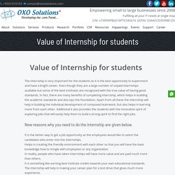 Value of Internship for students – OXO Solutions®