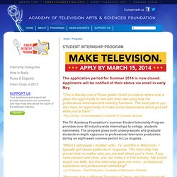 About the Student Internship Program | Academy of Television Arts & Sciences Foundation