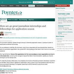 Here are 40 great journalism internships and fellowships for application season