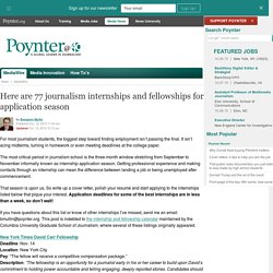Here are 74 journalism internships and fellowships for application season