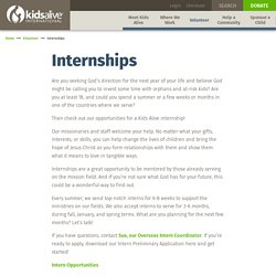 Internships : Kids Alive International