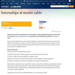Internships at msnbc cable - msnbc - NBCNews.com