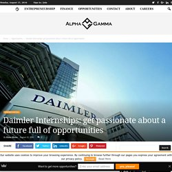 Daimler Internships: get passionate about a future full of opportunities